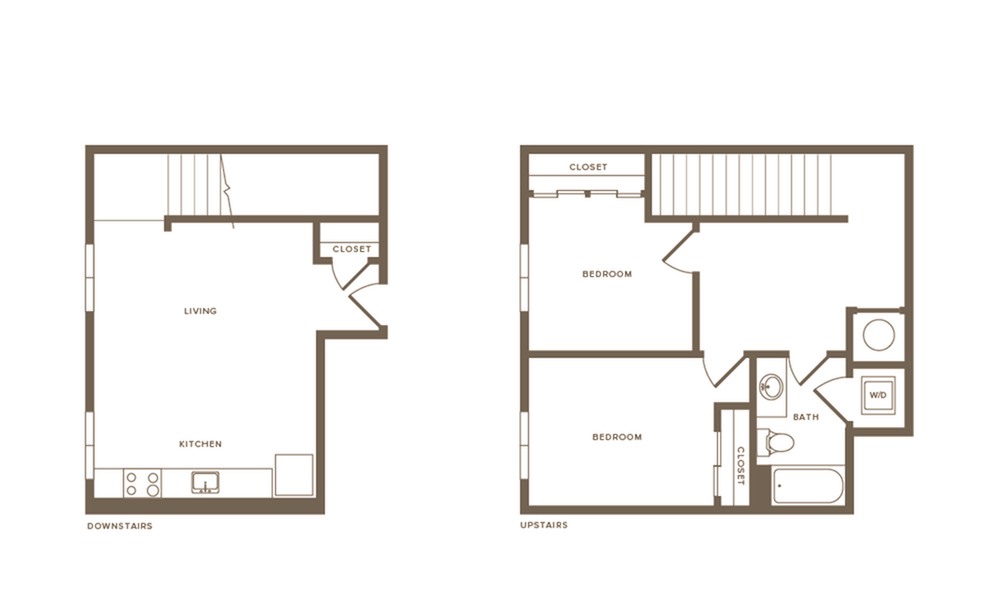 951 square foot two bedroom one bath two story apartment floorplan image