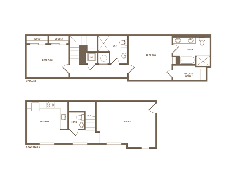 1402 square foot two bedroom two and a half bath two story apartment floorplan image