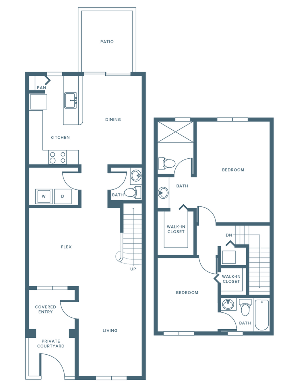 1379 square foot two bedroom two and a half bath two level apartment floorplan image