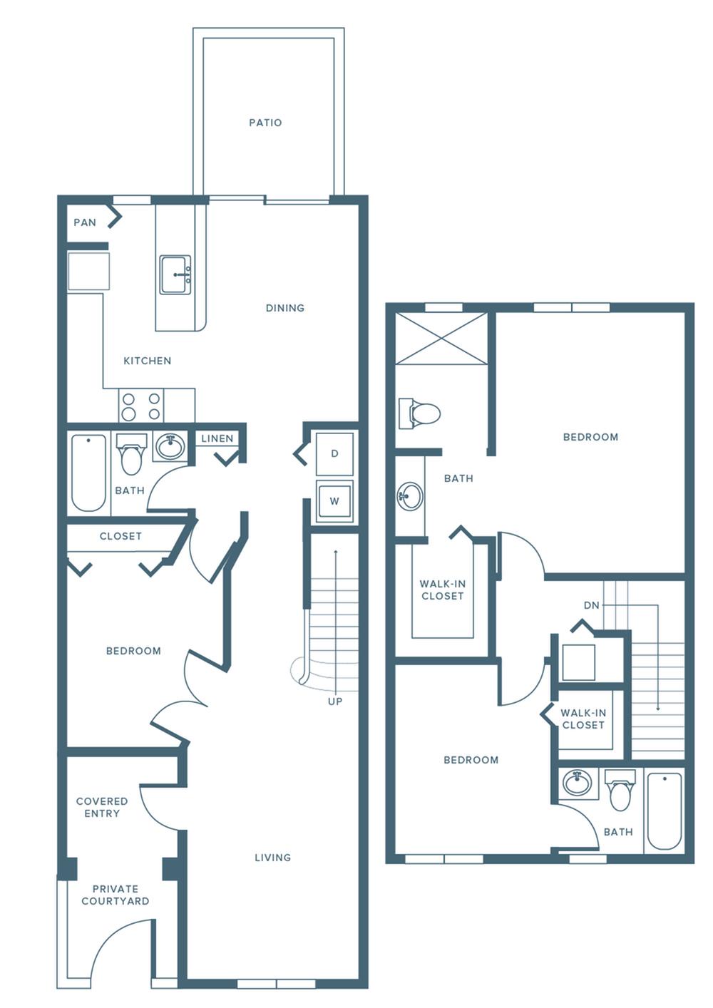 1379 square foot renovated three bedroom three bath two level apartment floorplan image