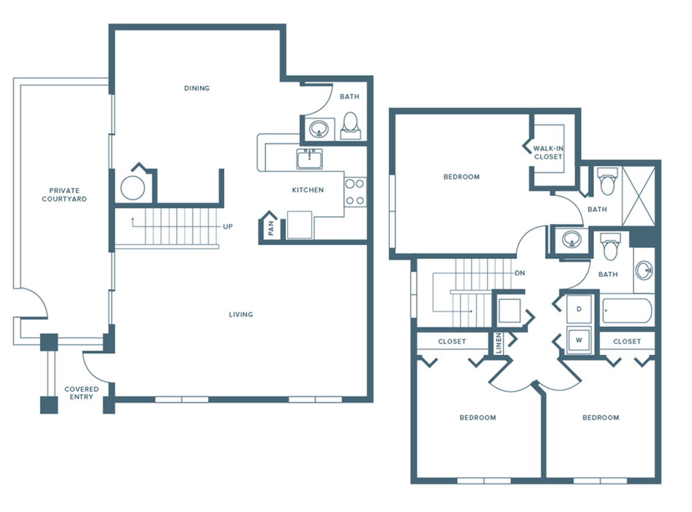 1396 square foot renovated three bedroom two and a half bath two level apartment floorplan image