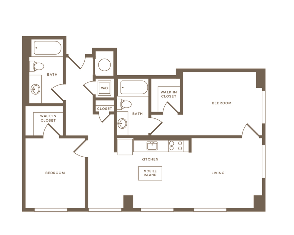 993 to 1000 square foot two bedroom two bath apartment floorplan image