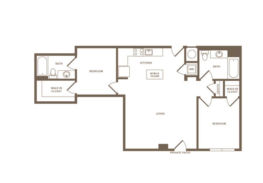 962 square foot two bedroom two bath apartment floorplan image