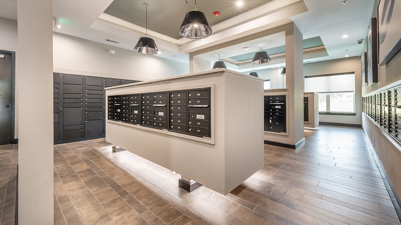 Mail Room with Luxer Self Serve Package Lockers