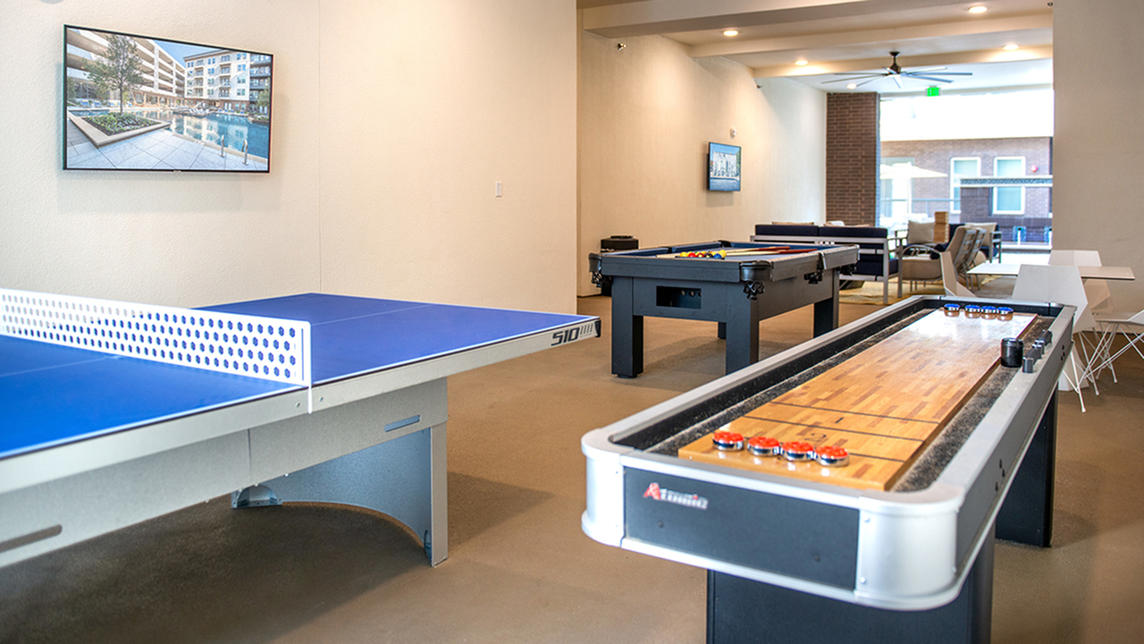 "Gaming ""Cave\"" with Shuffleboard, Ping Pong, Pool, and Social Seating"