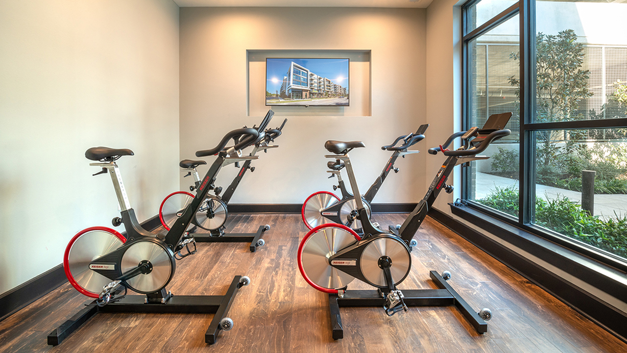 Yoga and Spin Studio with Floor to Ceiling Windows