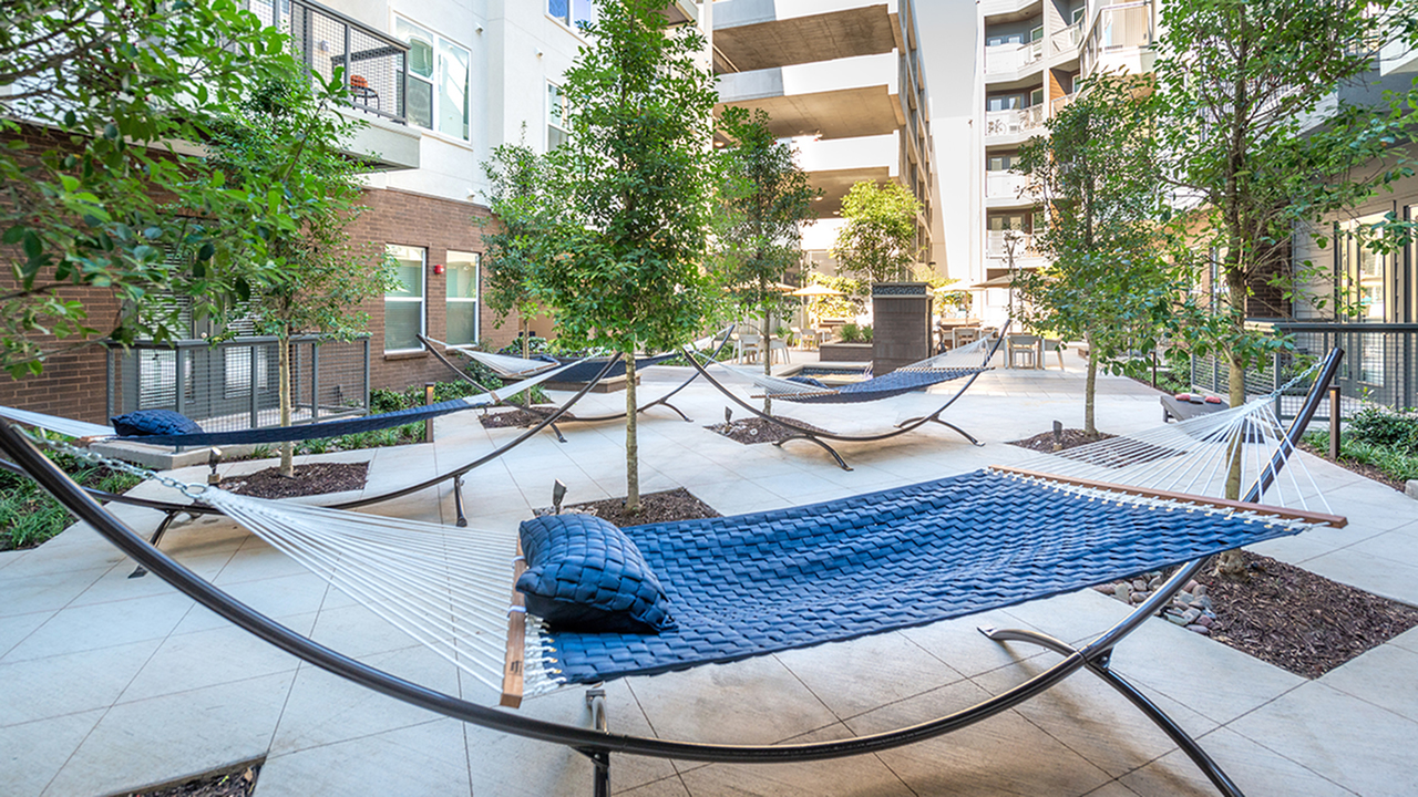 Hammocks in a Well Landscaped Courtyard