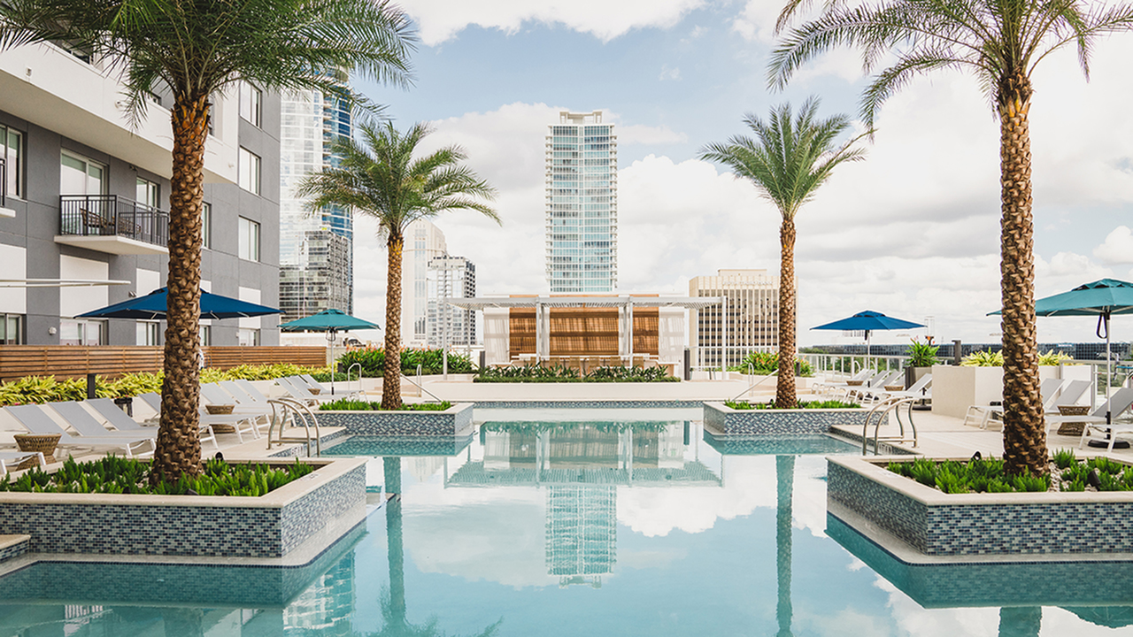 Large rooftop pool featuring palm trees