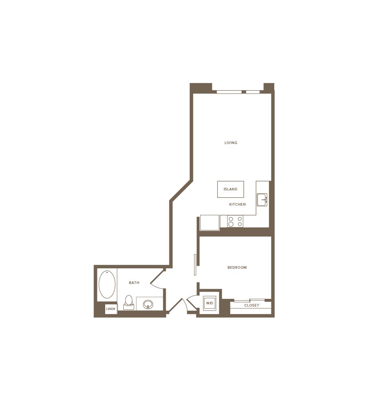 639 square foot one bedroom one bath floor plan image