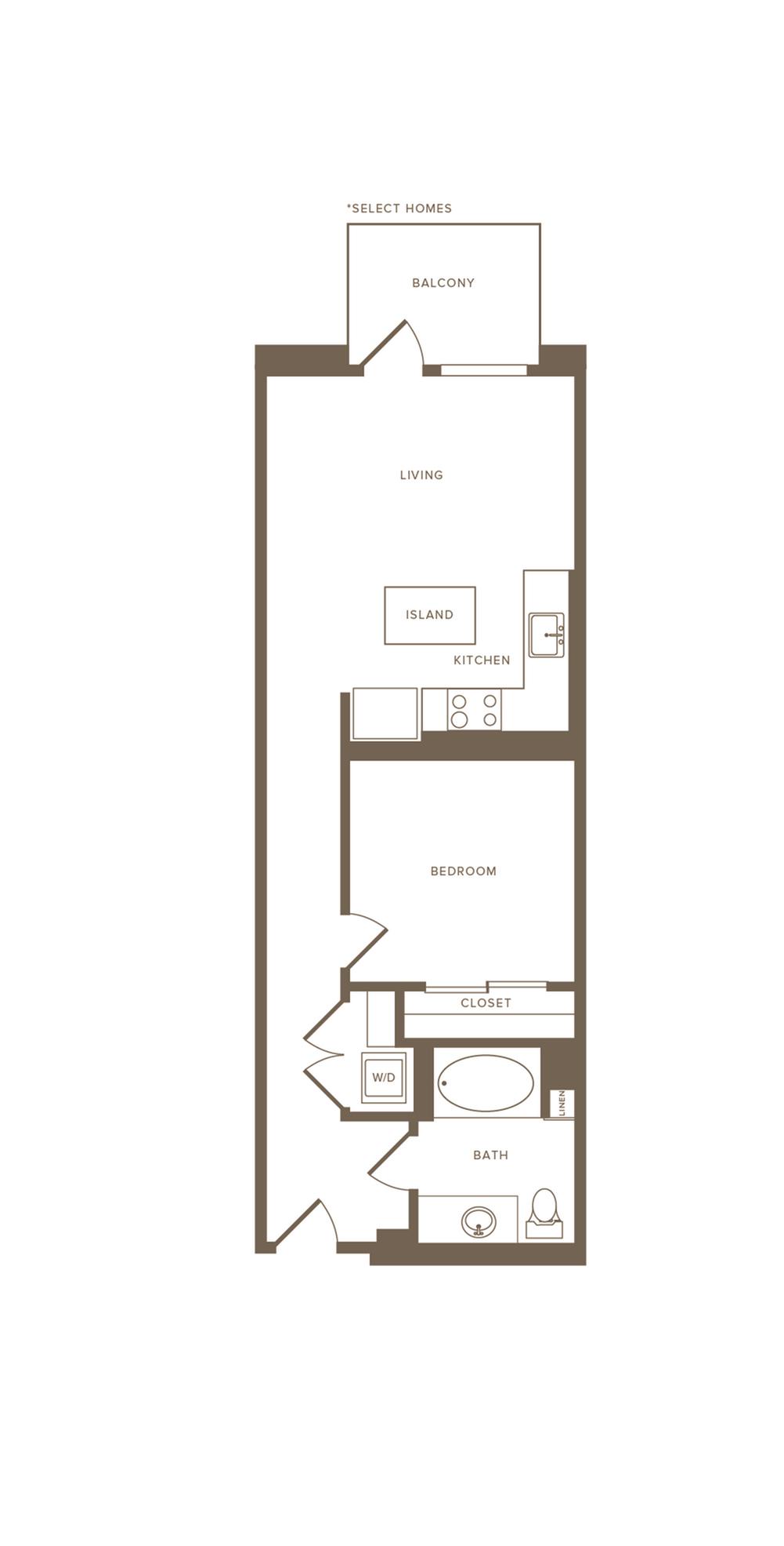 630-675 square foot one bedroom one bath floor plan image