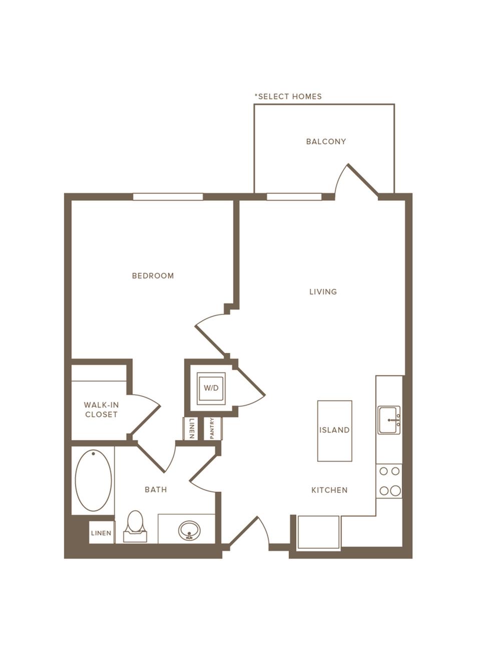 707-713 square foot one bedroom one bath floor plan image