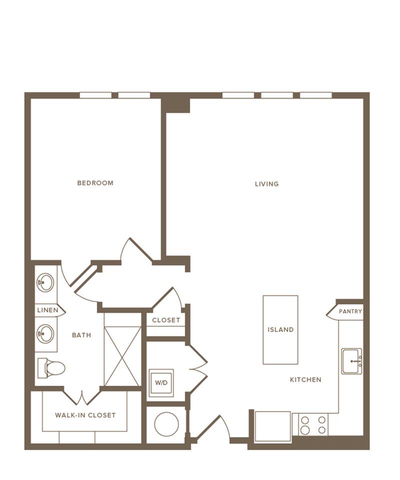 845-883 square foot one bedroom one bath floor plan image