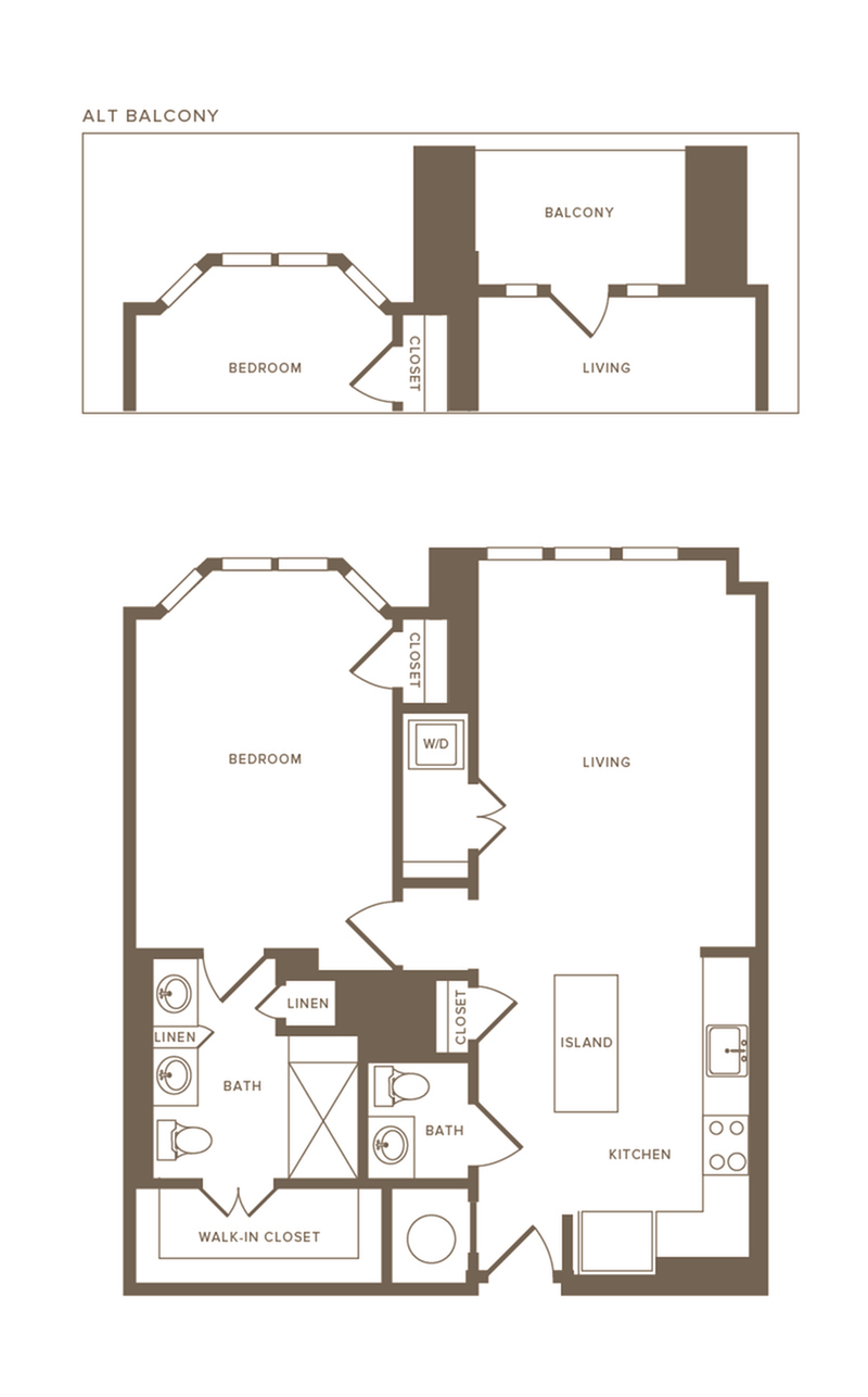 802-924 square foot one bedroom one and a half bath floor plan image