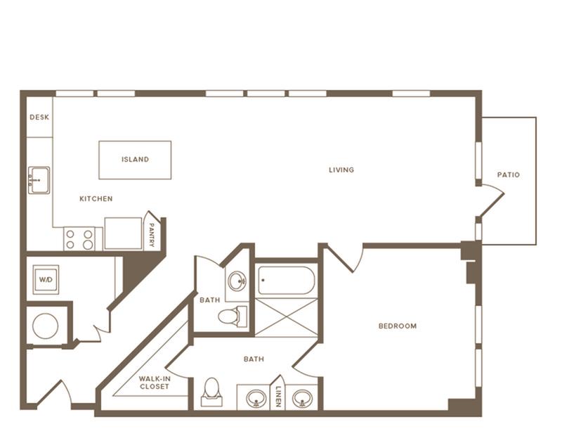 968 square foot one bedroom one bath floor plan image