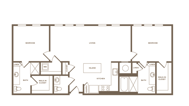 1,236-1,155 square foot two bedroom two and a half bath floor plan image