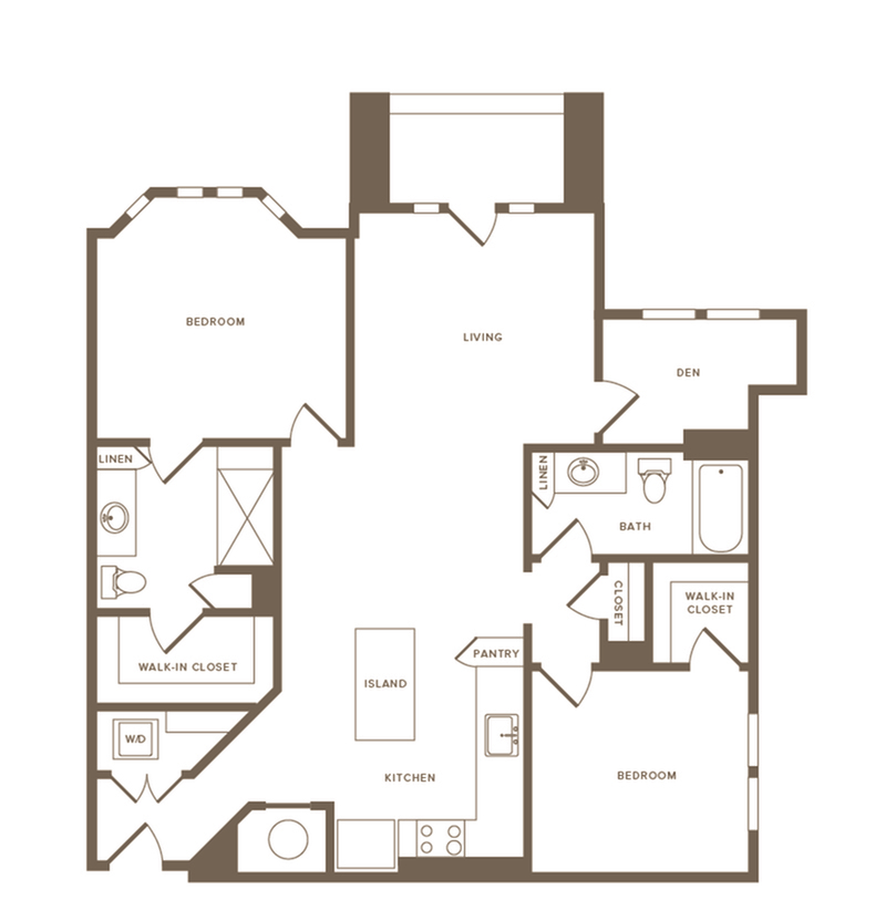 1,260-1,183 square foot two bedroom two bath with den floor plan image