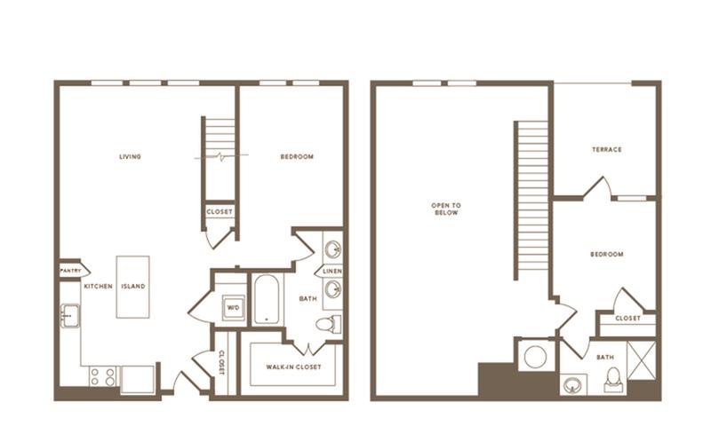 2 Bdrm Floor Plan B14 Penthouse   Modera Howell   Dallas Texas Apartments