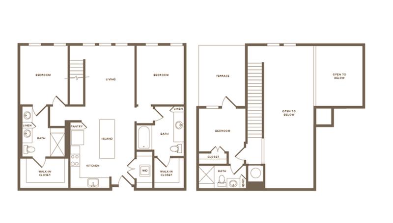 1217 square foot three bedroom three bath floor plan image