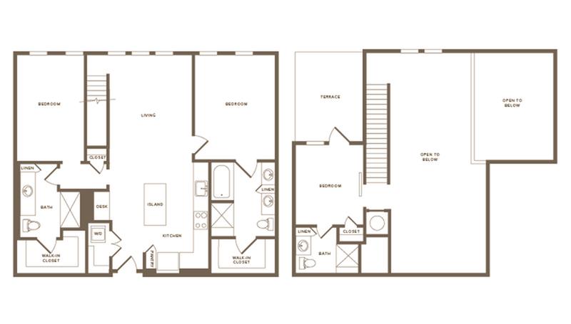 1,365 square foot three bedroom three bath floor plan image