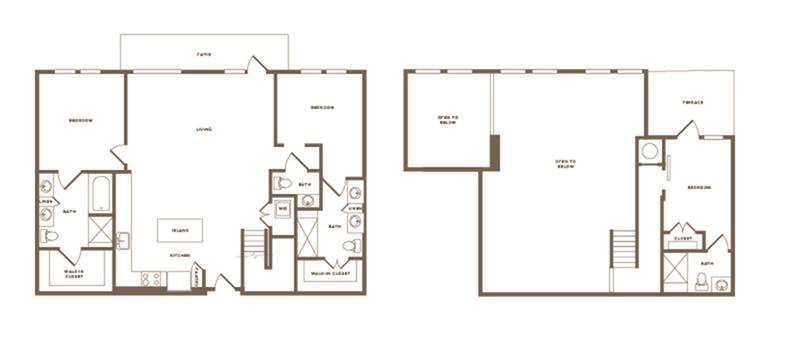 1,528 square foot three bedroom three bath floor plan image