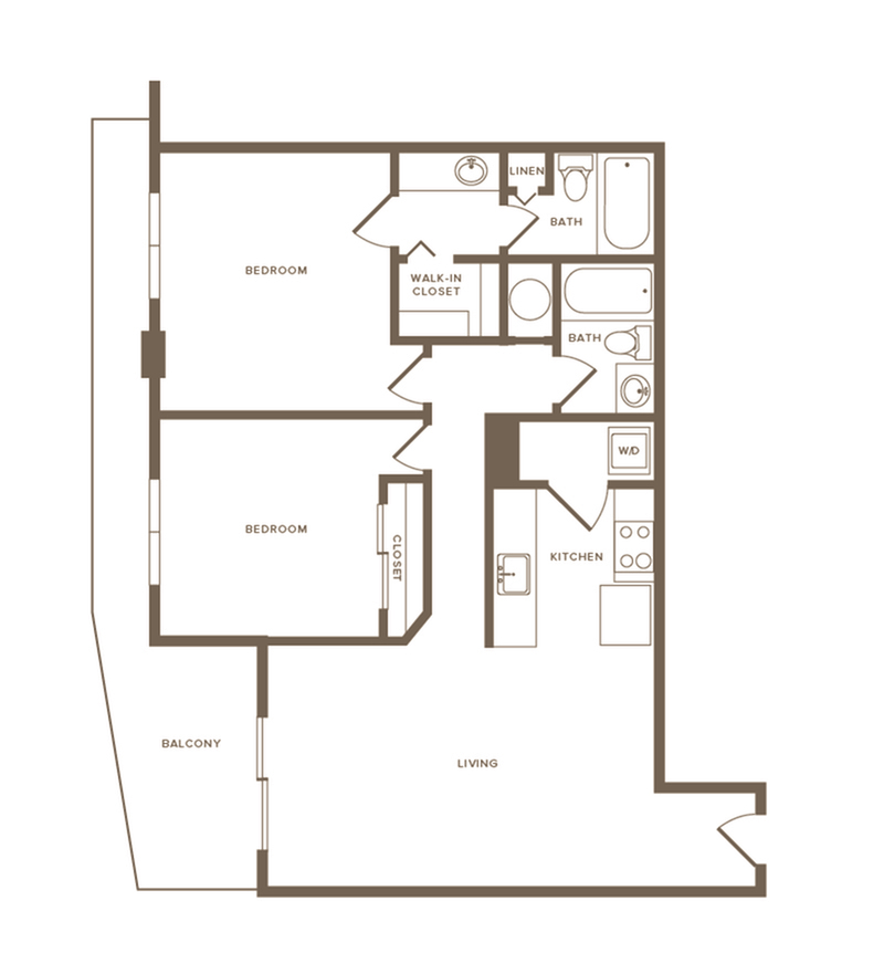 1148 square foot renovated two bedroom two bath apartment floorplan image