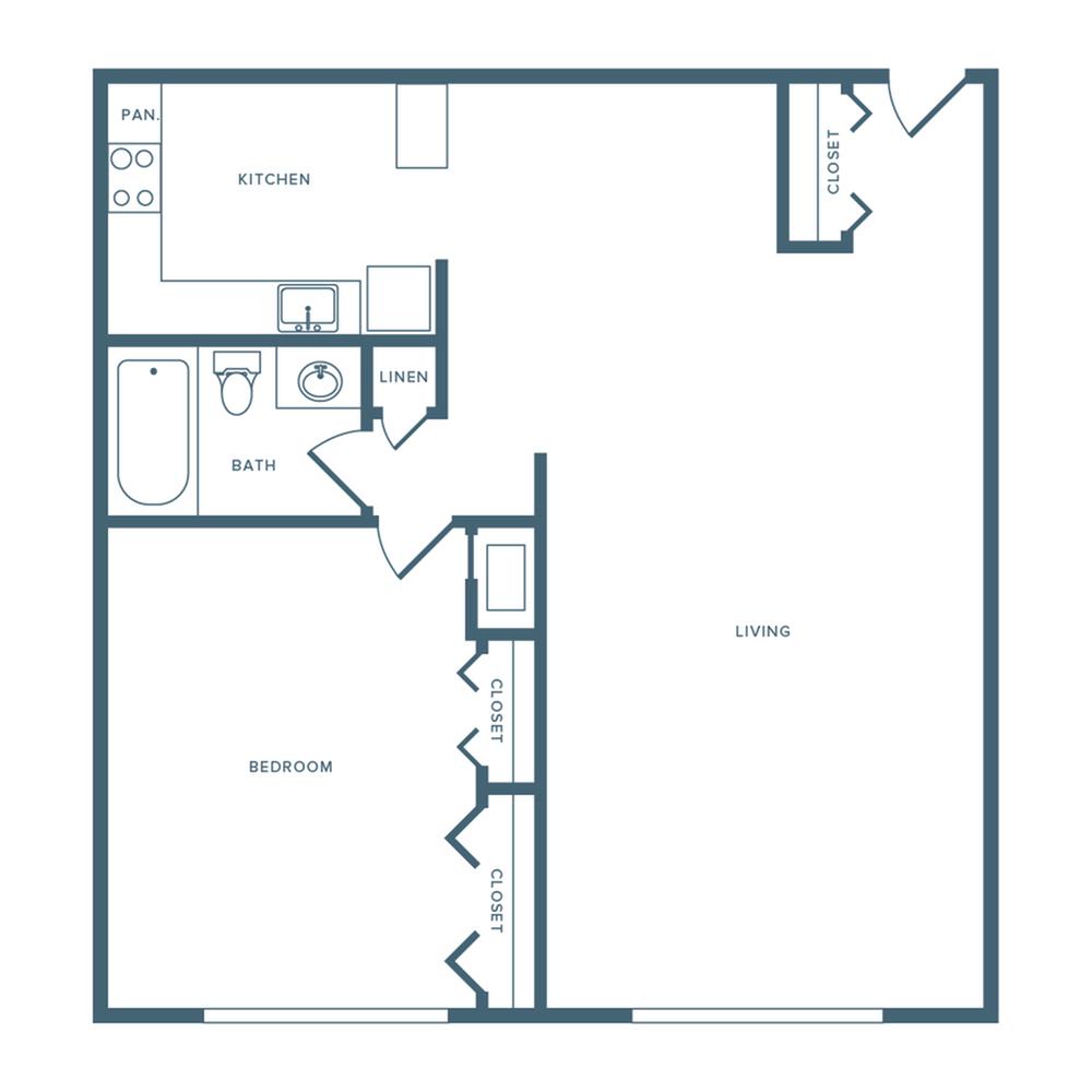 860 square foot one bedroom one bath apartment floorplan image