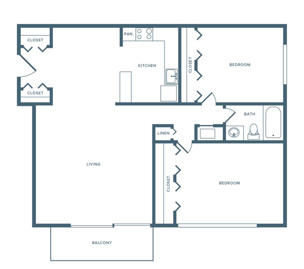 1150 square foot two bedroom one bath apartment floorplan image
