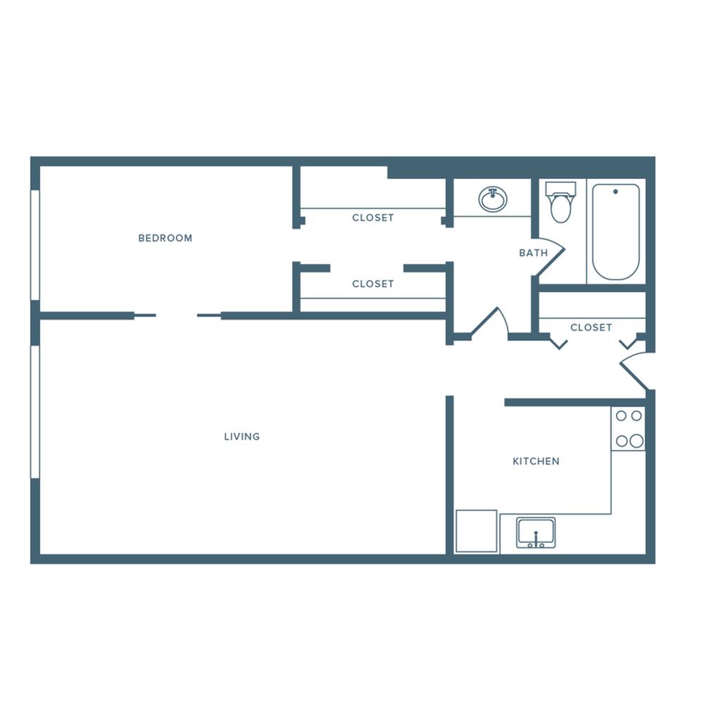 550 square foot one bedroom one bath studio apartment floorplan image