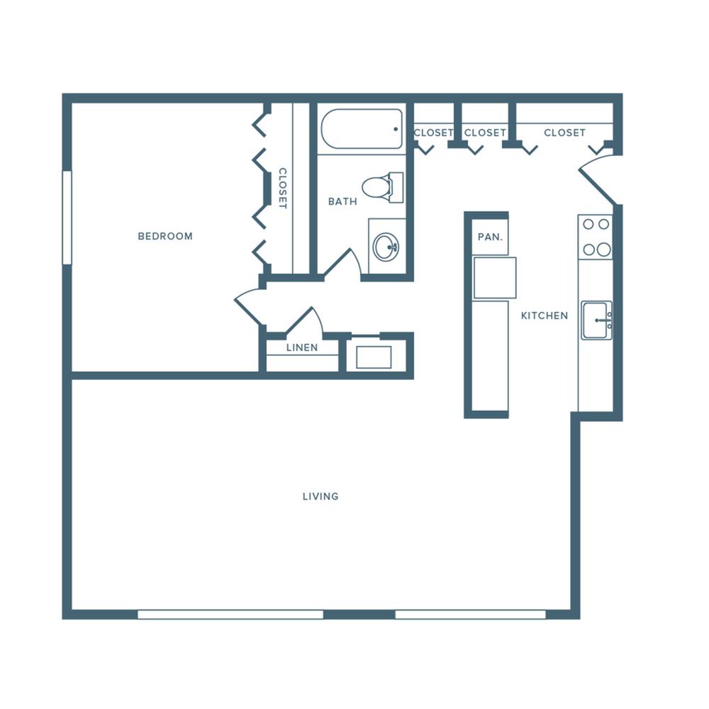 760 square foot renovated one bedroom one bath apartment floorplan image