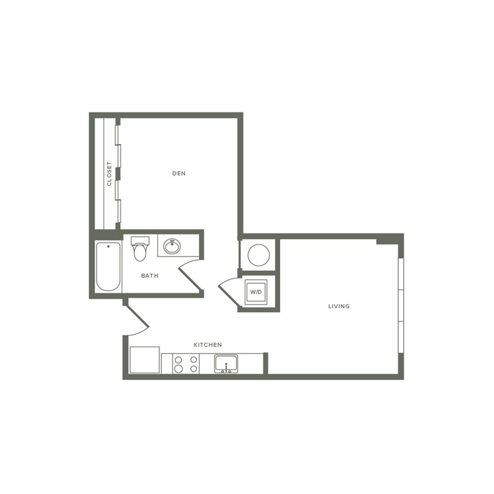 538 square foot studio with den one bath floor plan image