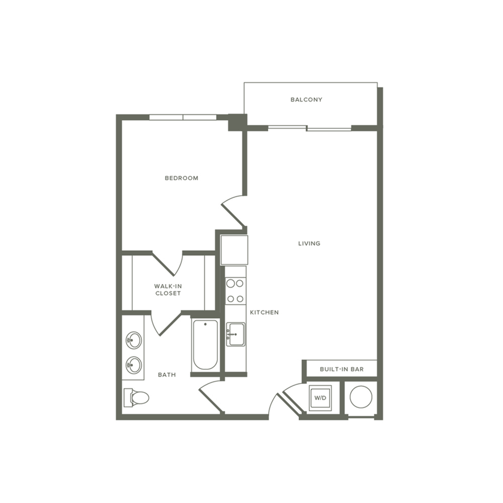 687 to 704 square foot one bedroom one bath apartment floorplan image