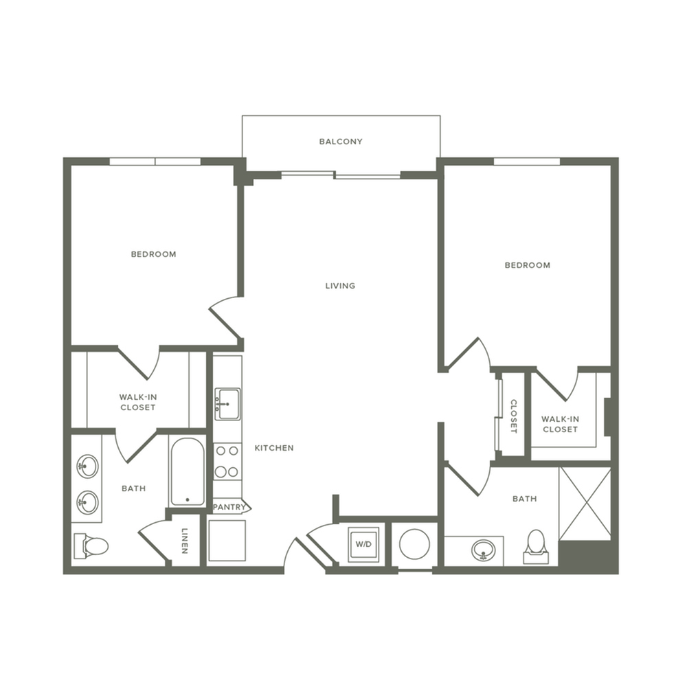 1043 square foot two bedroom two bath apartment floorplan image