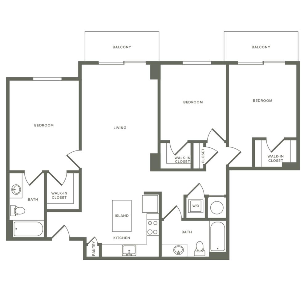 1245 square foot three bedroom two bath apartment floorplan image