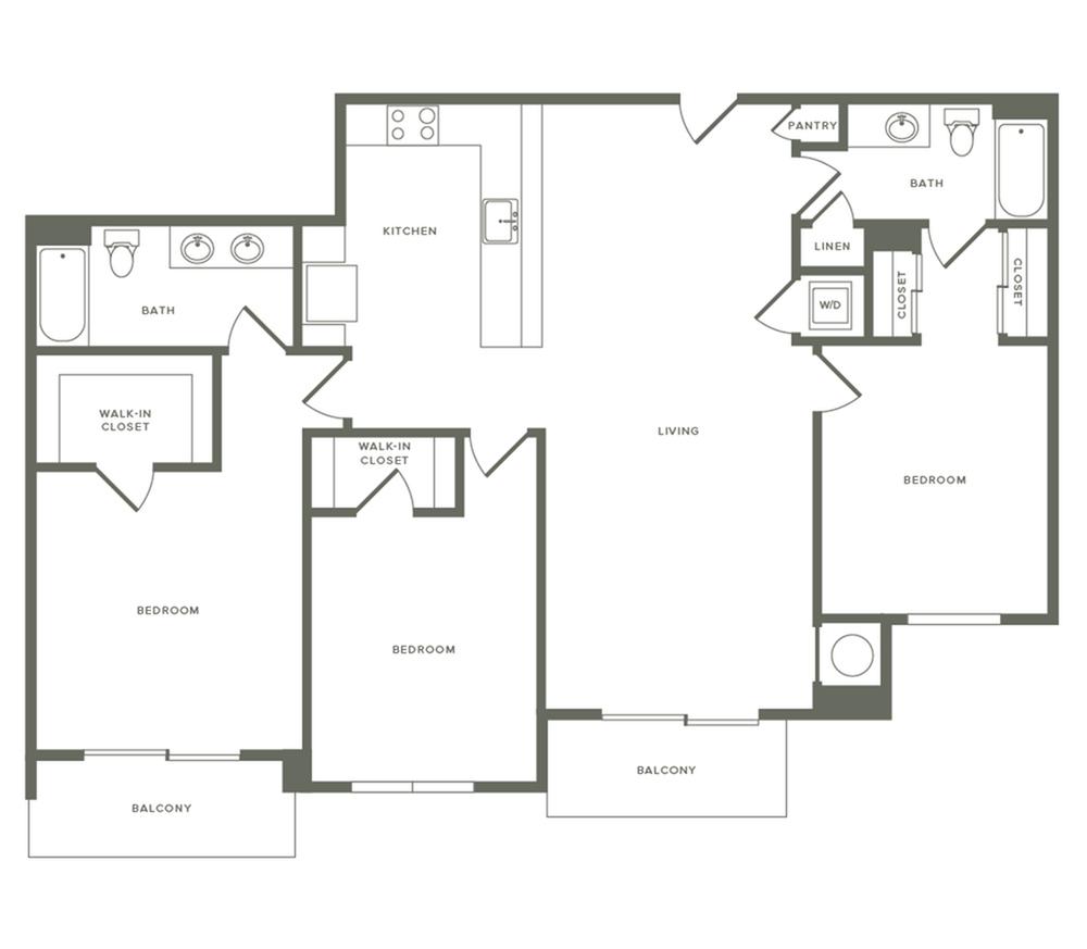1489 square foot three bedroom two bath apartment floorplan image
