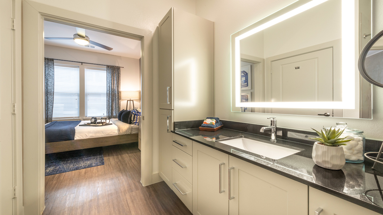 Back-lit Mirror and Over-sized Vanity Area