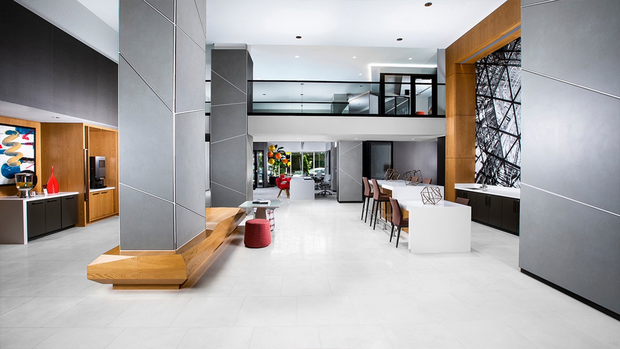Expansive resident lounge with timeless, modernist style architecture.