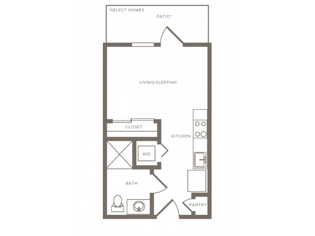 376 square foot studio one bath floorplan image