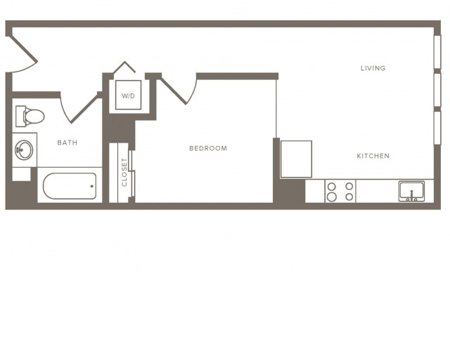 537 square foot one bedroom one bath floorplan image