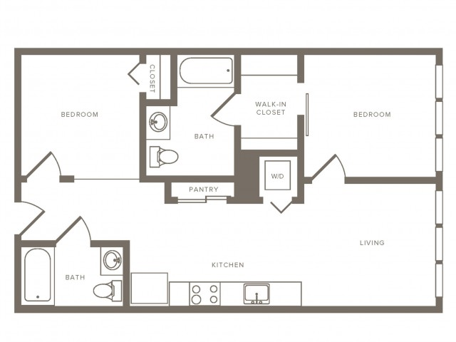 812 square foot two bedroom two bath floorplan image