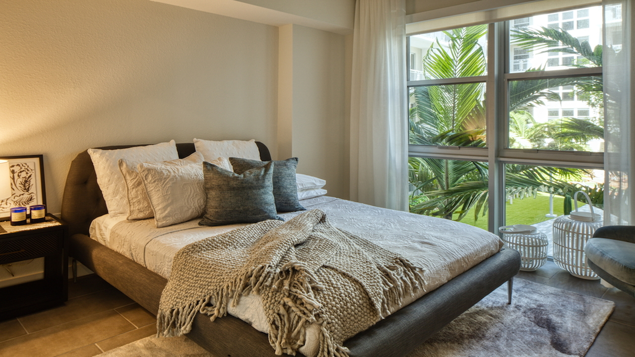 Bedroom with Oversized Windows | Modera Edgewater | Apartment Homes | Miami, Florida