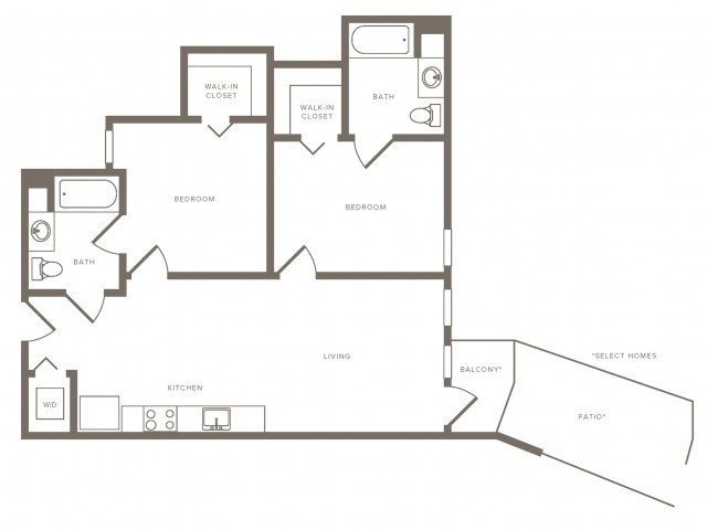 904 square foot two bedroom two bath floorplan image