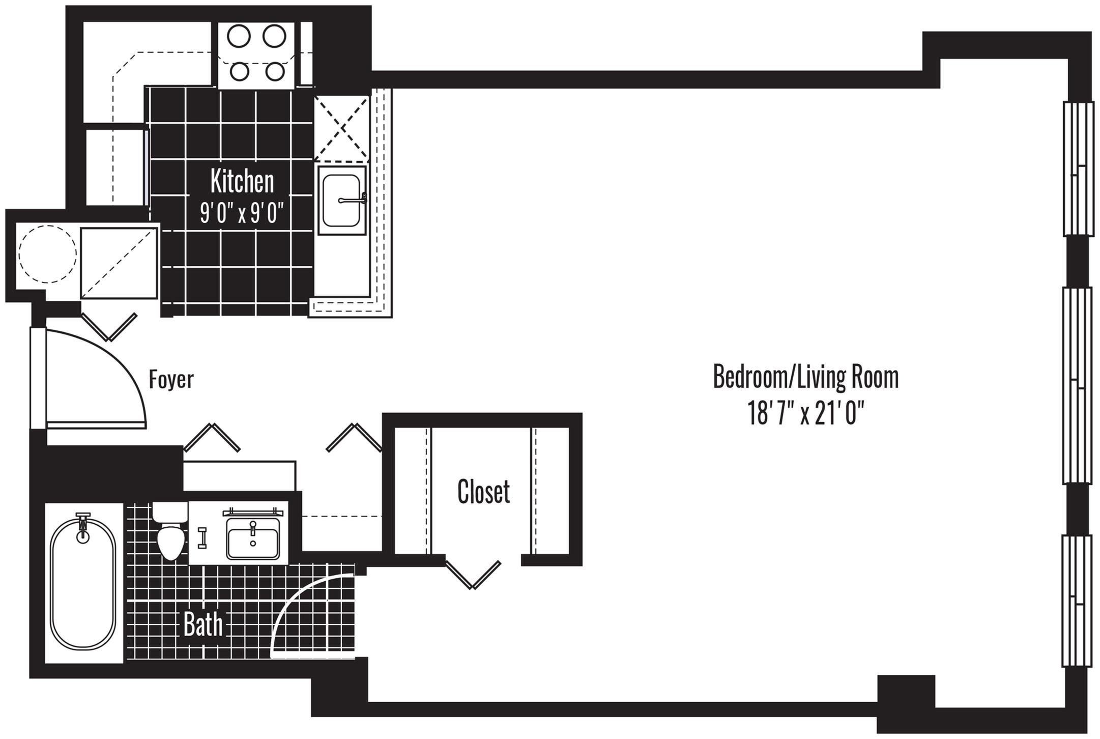 610 square foot studio one bath apartment floor plan image