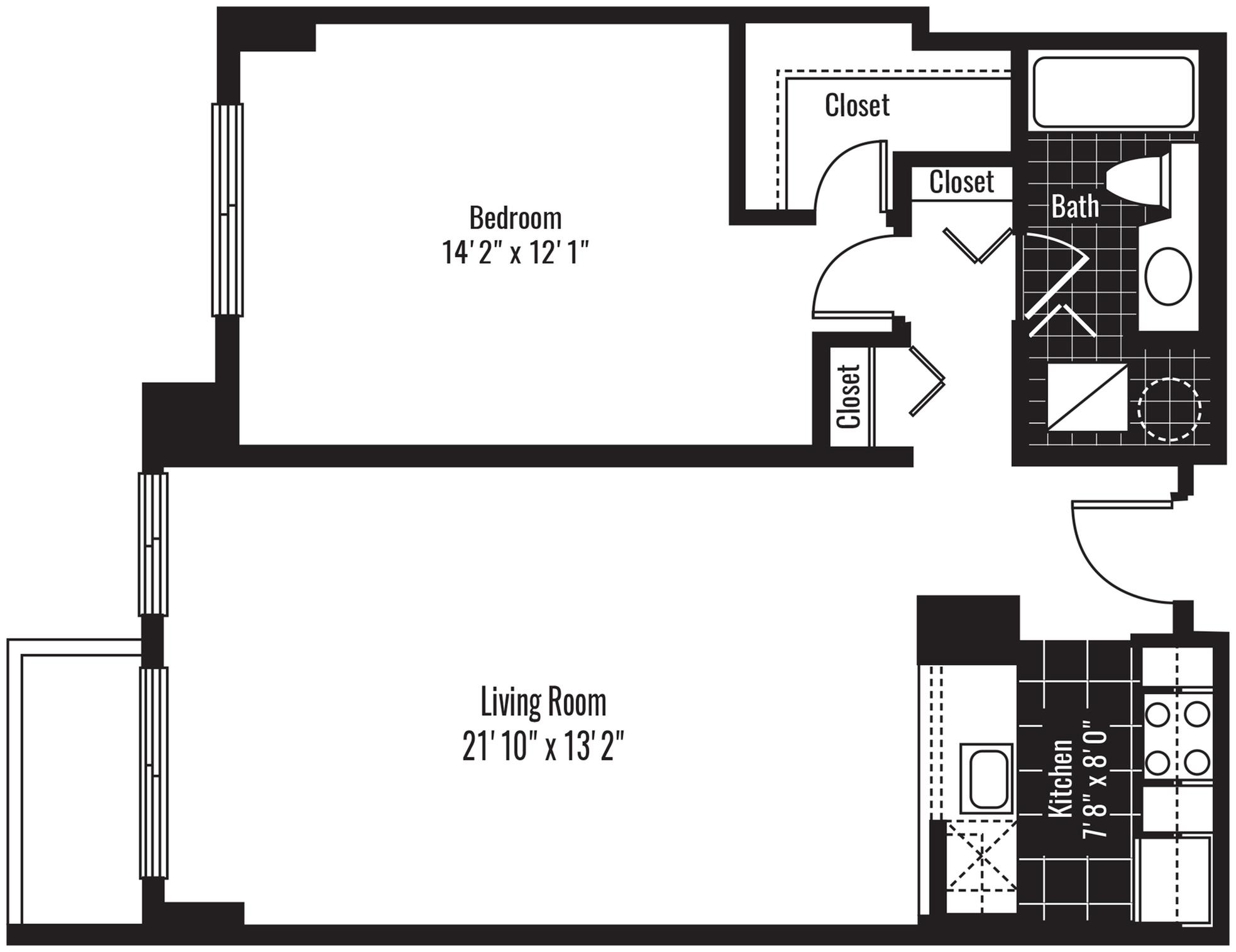 768 square foot one bedroom one bath apartment floorplan image