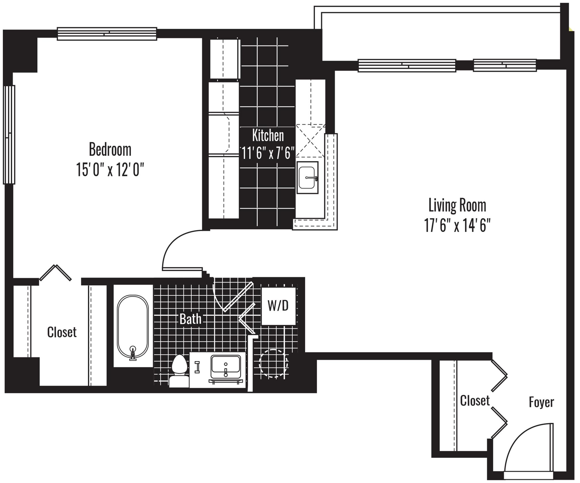 805 square foot one bedroom one bath apartment floorplan image