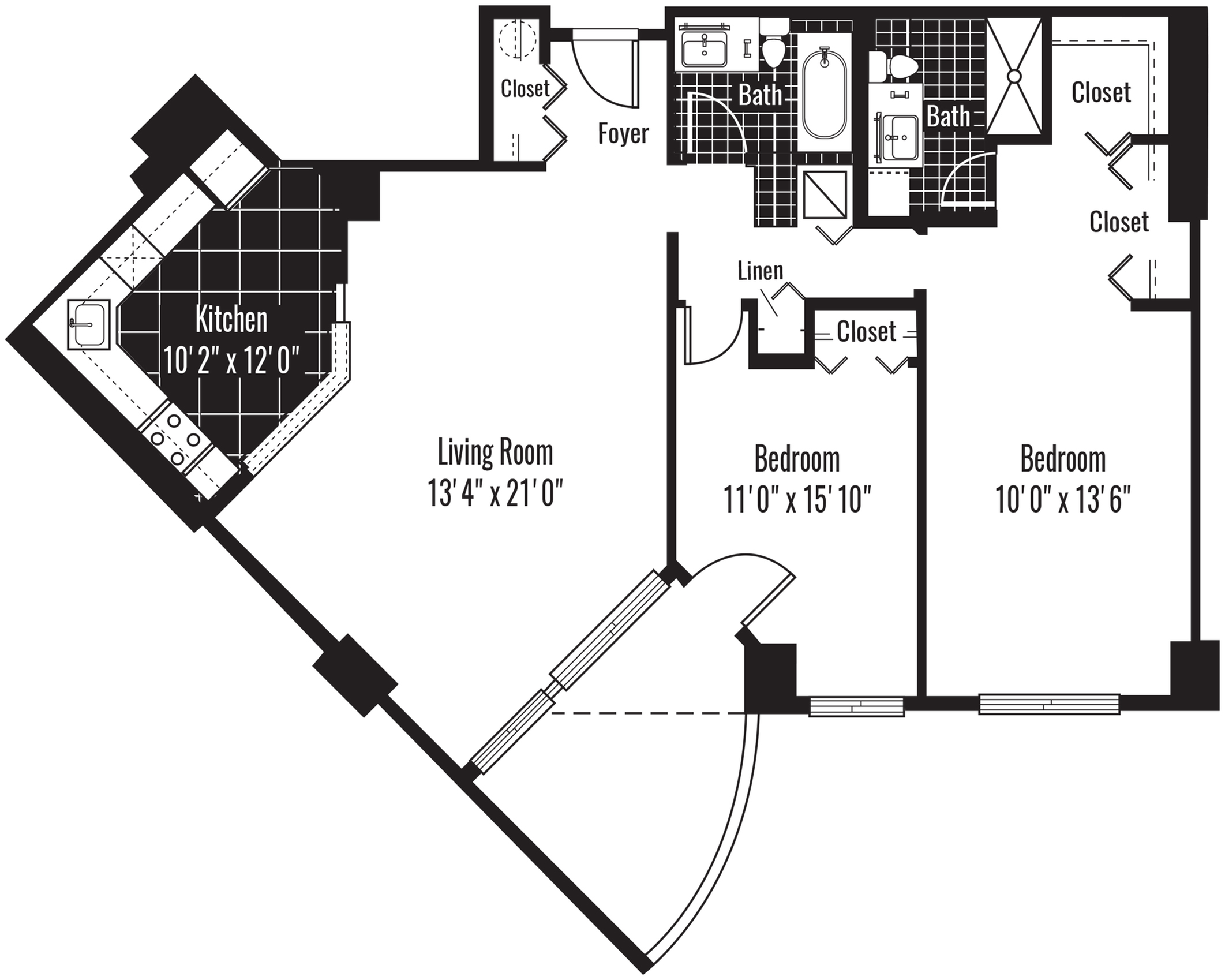 1160 square foot two bedroom two bath apartment floorplan image