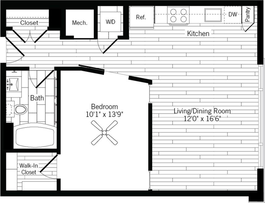 678 square foot one bedroom one bath apartment floorplan image