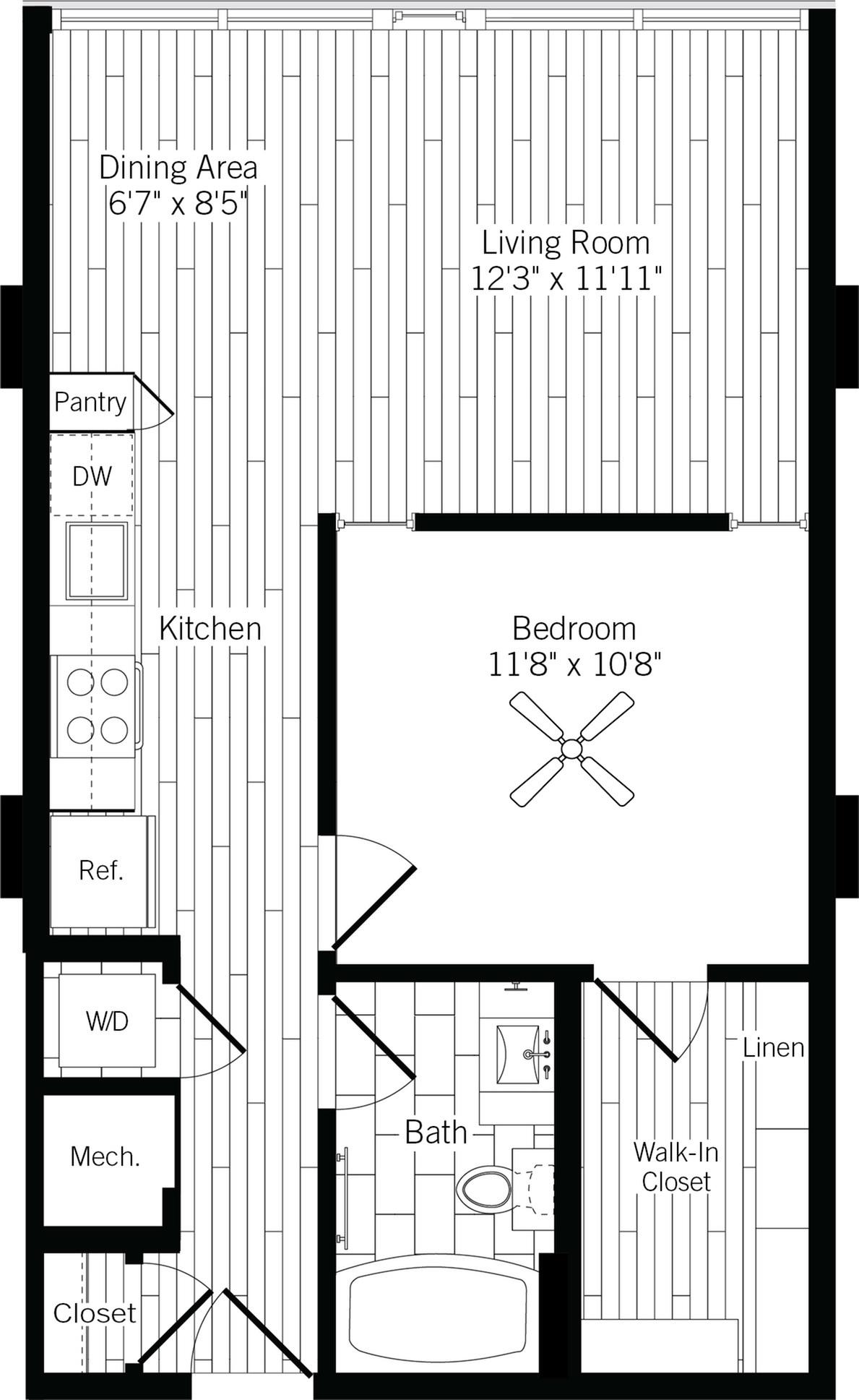 686 square foot one bedroom one bath apartment floorplan image