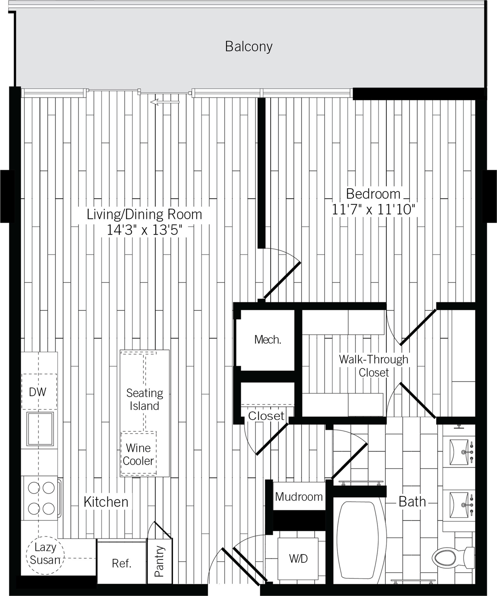 775 square foot one bedroom one bath with wood plank flooring throughout apartment floorplan image