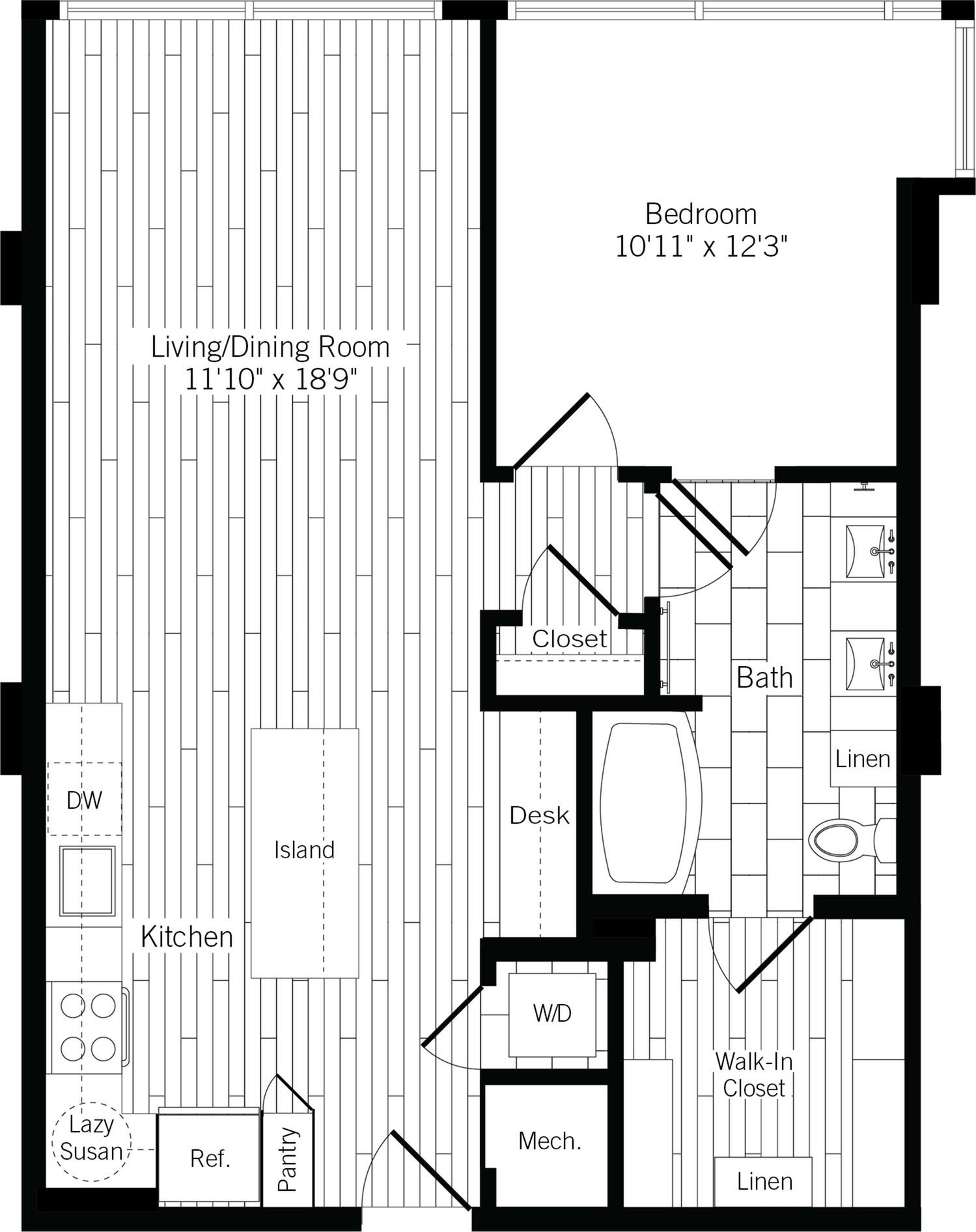 827 square foot one bedroom one bath apartment floorplan image