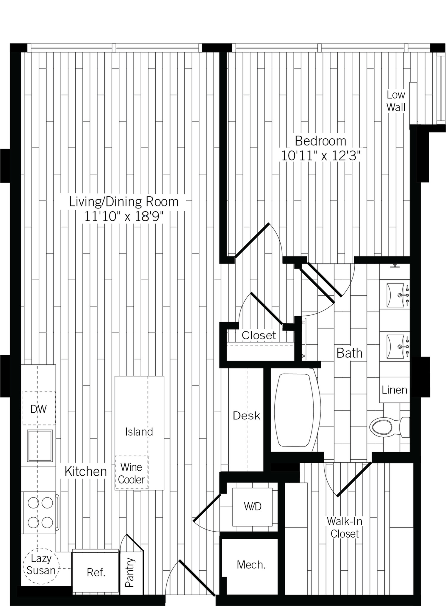827 square foot one bedroom one bath with wood plank flooring throughout apartment floorplan image